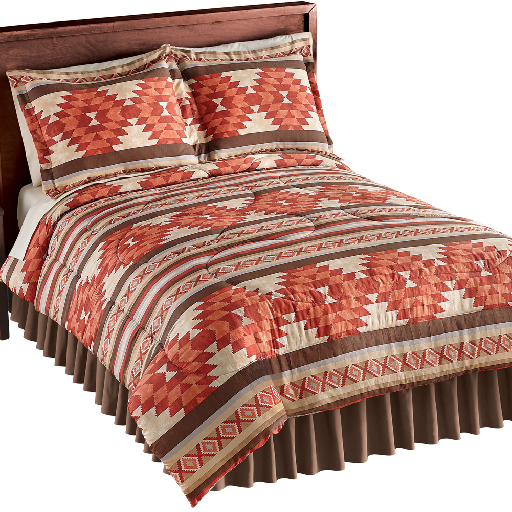 Cheyenne Aztec Pattern Comforter Set, 3 Pc with 2 Pillow Shams and 1 Comforter, Southwestern Décor, Full/Queen, Multi