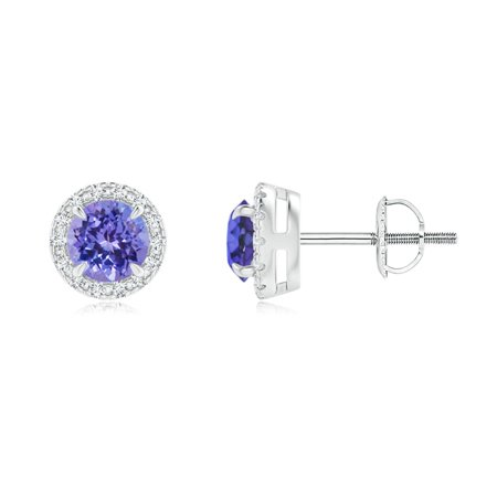 Claw-Set Tanzanite and Diamond Halo Stud Earrings in 14K White Gold (4mm Tanzanite) - SE1492TD-WG-AAA-4