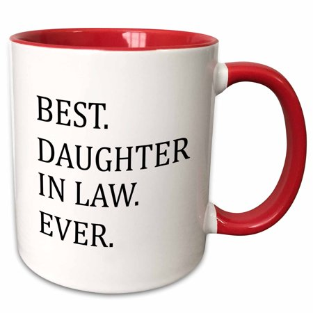 3dRose Best Daughter in law ever - gifts for family and relatives - inlaws - Two Tone Red Mug,