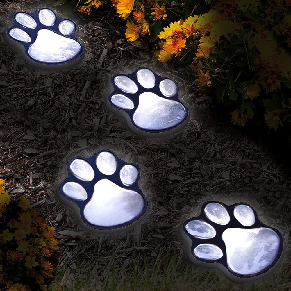 Set of 4 LED Solar Pet Paws Animal Prints Outdoor Lamp Lantern Path Landscape Garden Lights Decorative by