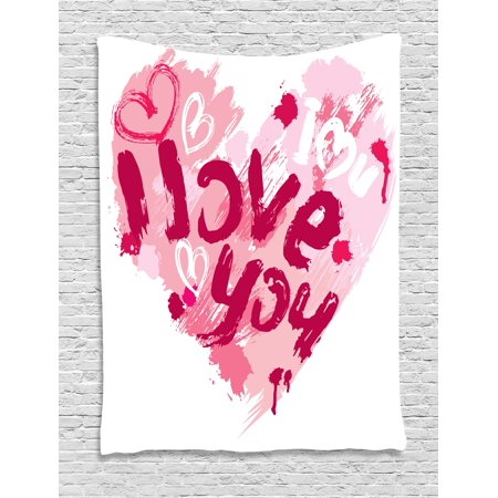 I Love You Tapestry, Paintbrush Love Message Best Friends Forever February Wedding Engaged Image, Wall Hanging for Bedroom Living Room Dorm Decor, 40W X 60L Inches, Pale Pink Ruby, by