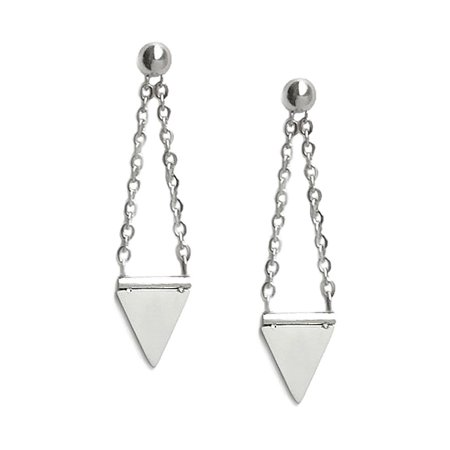 - Edgy Stainless Steel Silver Triangle Spike Dagger Dangle Chain Stud Earrings for Women