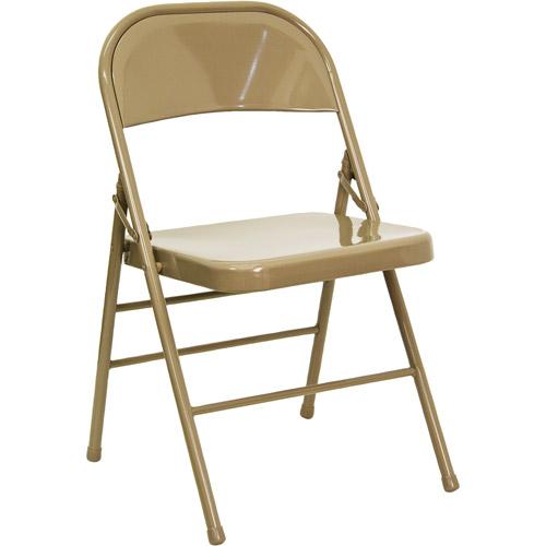 Hercules Hinged Metal Folding Chair 4Pack Beige Walmartcom