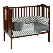 Baby Doll Bedding Minky Chevron Mini Crib/ Port-A-Crib Bedding, Grey
