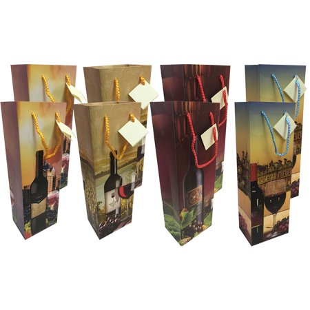 Royal Designs – Festive Christmas Holiday Wine Chmpagne Bottle Gift Bags – 4 Assorted Styles – 8 Pack - Christmas Wine Bags