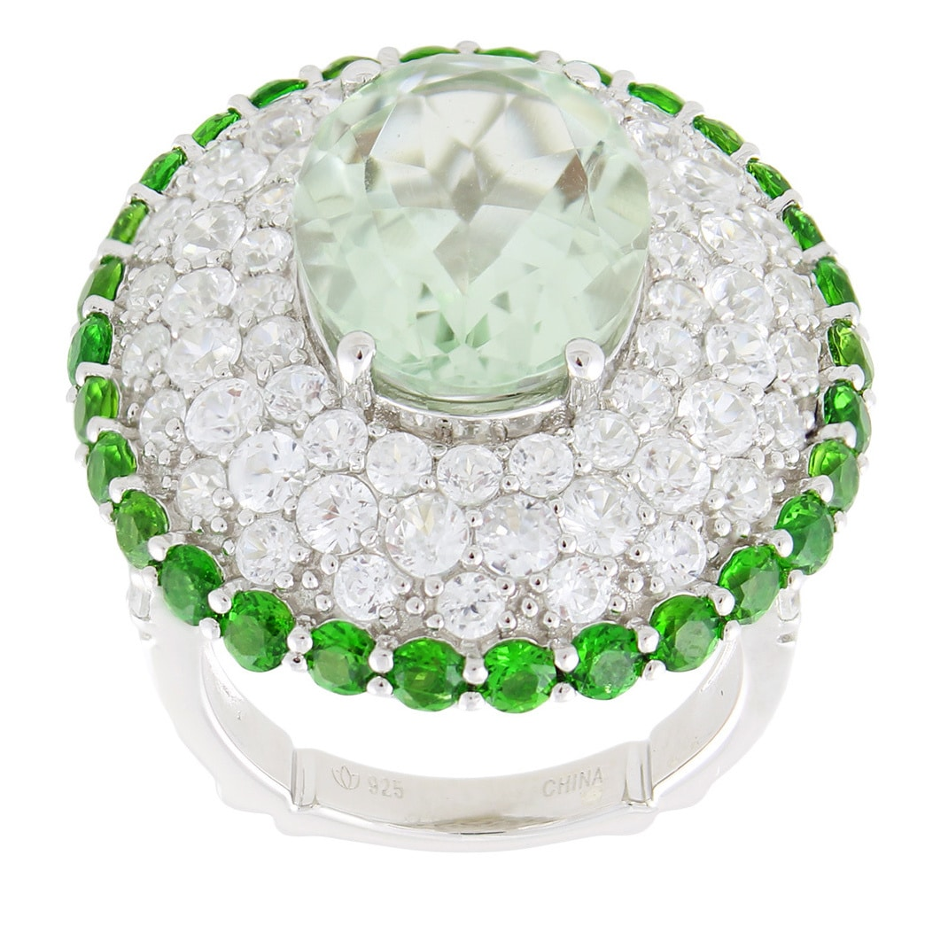 Dallas Prince Sterling Silver 13 5/8ct Oval Green Amethyst and Multi-gemstone Ring