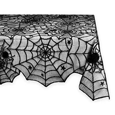 DII 54x72 Rectangular Polyester Lace Thlecloth, Black Spider Web - Perfect for Halloween, Dinner Parties and Scary Movie - Halloween Movies For Kids Scary