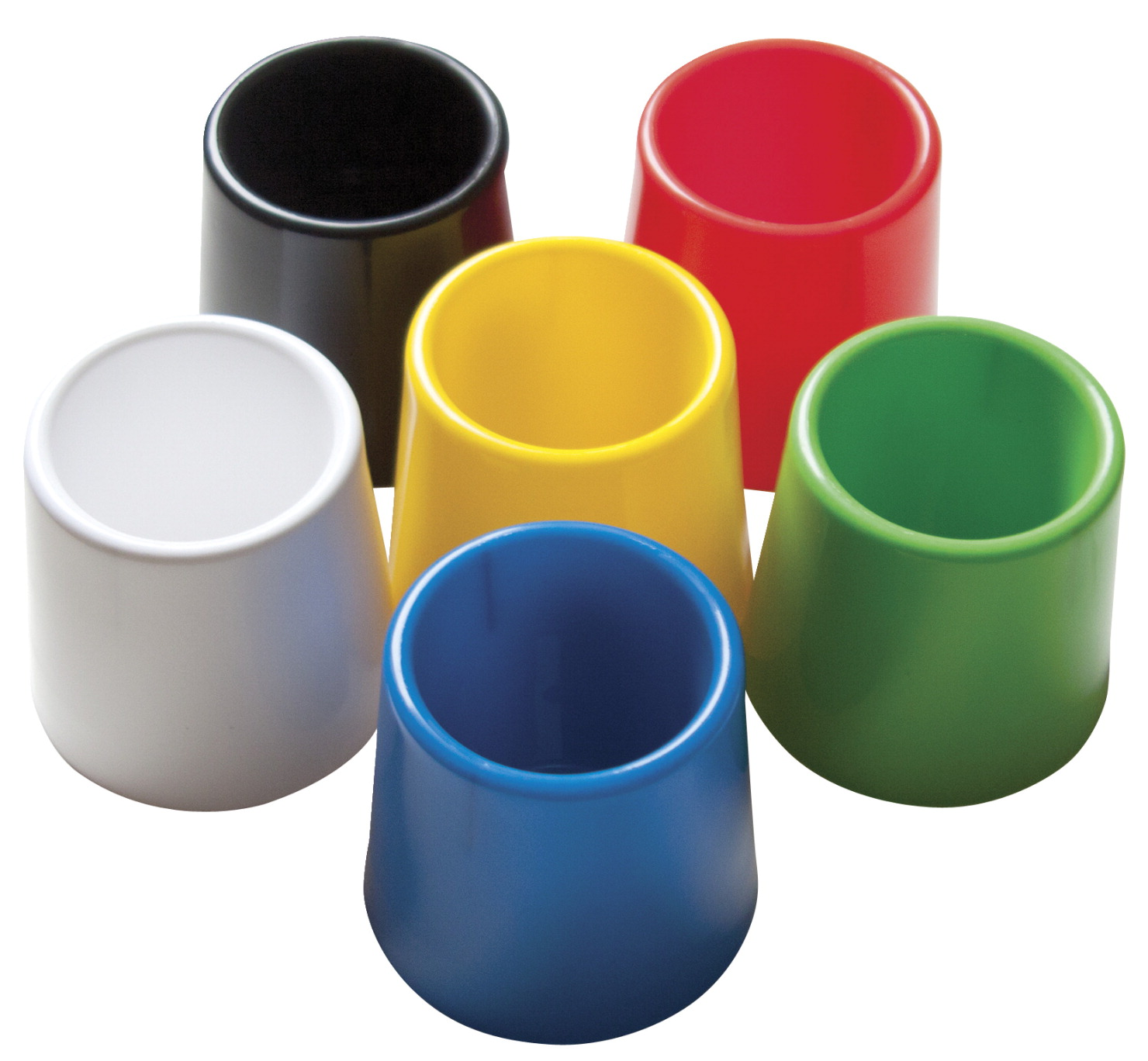School Smart Plastic Water Pot Set, 4-3/4 x 3-1/2 Inches, Assorted Color, Set of 6