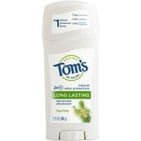 Tom's of Maine 24-Hour Long-Lasting Deodorant Stick, Tea Tree, 2.25 Oz