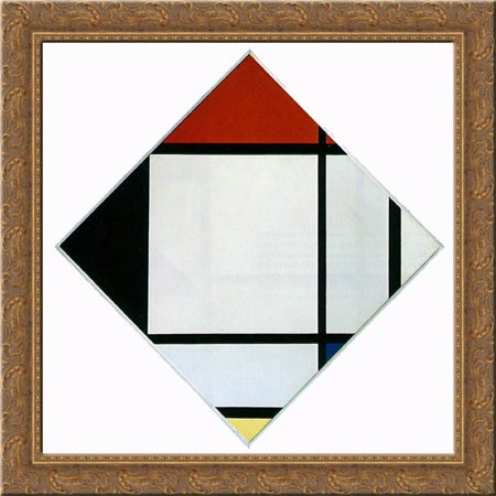 Lozenge Composition with Red, Black,Blue and Yellow 20x20 Gold Ornate Wood Framed Canvas Art by Mondrian, (Gold Lozenge)