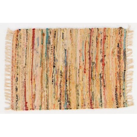 Rag Rug 30 X 50 Honey Hand Woven 100 Cotton