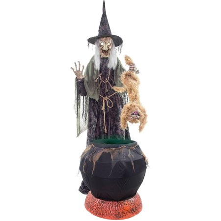 Cauldron Cat Trastrope with Fog Machine Halloween - Halloween Goodie Cauldron
