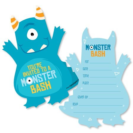 Monster Bash - Shaped Fill-In Little Monster Birthday Party or Baby Shower Invitation Cards with Envelopes - Set of 12