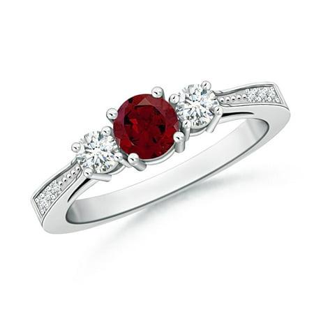593c4714d1ae8 January Birthstone Ring - Cathedral Three Stone Garnet & Diamond Engagement  Ring in 14K White Gold (5mm Garnet) - SR0658GD-WG-AA-5-3