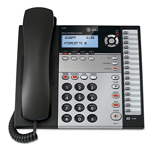 AT&T 1040 4-Line Expandable Corded Phone System with Speaker Phone, 1 Handset, Black Silver by Att