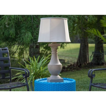 Kenroy Home Cottage Chic Outdoor Table Lamp, 31 Inch Height, Coquina Finish, Cream Tweed Tapered Drum Shade, UL Listed for Wet and Damp Locations, All-Weather Rated