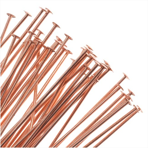 Genuine Copper Head Pins - 24 Gauge Thick 2 Inches Long (24)