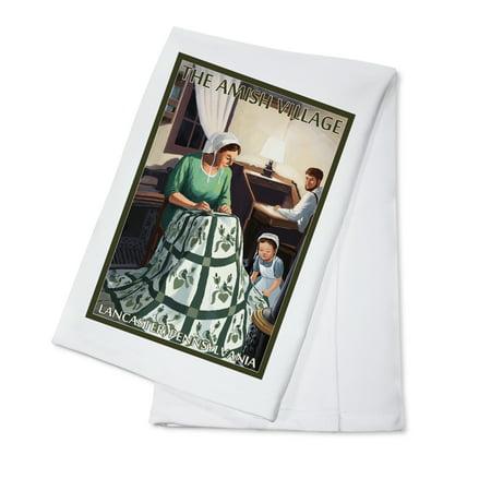 Lancaster County, Pennsylvania - Farm Scene - Quilting Scene - Lantern Press Poster (100% Cotton Kitchen