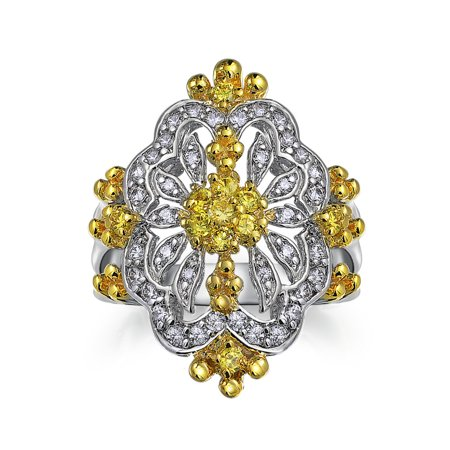 Antique Style Canary Yellow Cubic Zirconia CZ Filigree Full Finger Armor Statement Ring For Women Silver Plated Brass - image 2 de 4