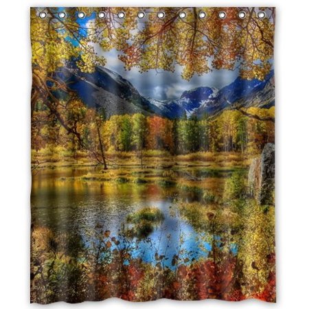 HelloDecor Scenery Mountain Lake Shower Curtain Polyester Fabric Bathroom Decorative Size 60x72 Inches