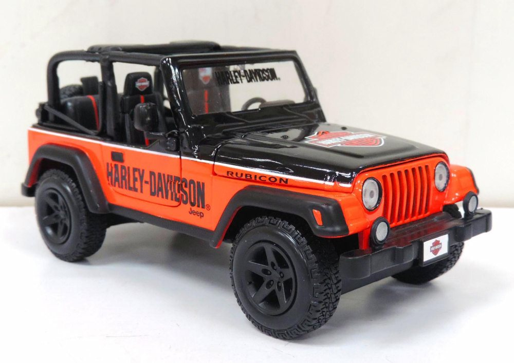 Jeep Wrangler Rubicon, Orange Black Maisto HD Custom 32190OB 1 27 scale diecast model car by Maisto