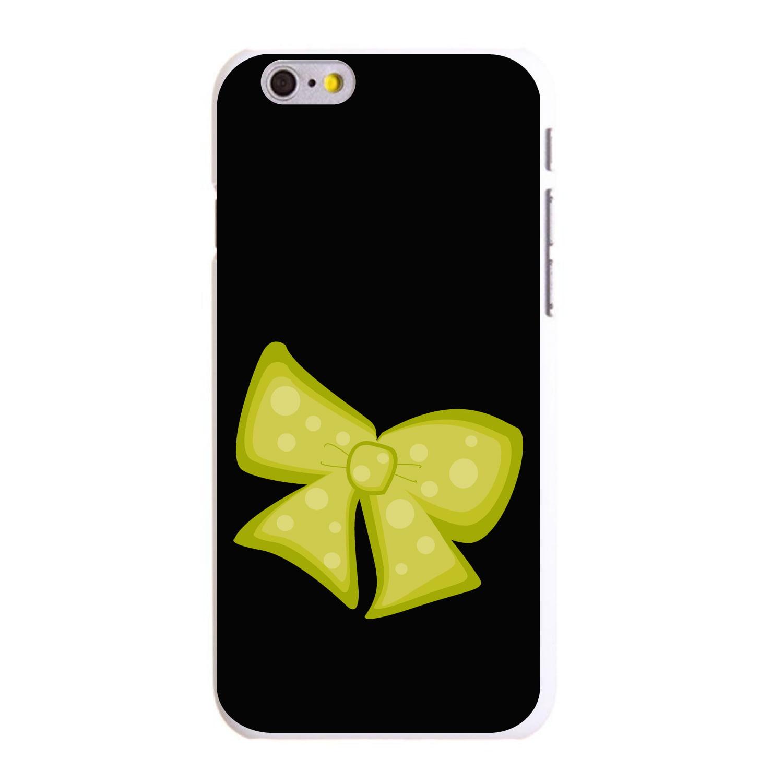 "CUSTOM White Hard Plastic Snap-On Case for Apple iPhone 6 / 6S (4.7"" Screen) - Yellow Black Bow Ribbon"
