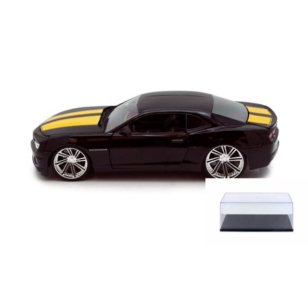 Diecast Car & Display Case Package - Chevy Camaro SS, Black/Yellow - Jada Toys Bigtime Muscle 92121 - 1/24 scale Diecast Model Toy Car w/Display Case