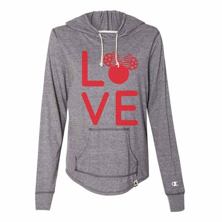 "Women's Cute Disney Minnie Mouse Champion Hoodie ""Love Minnie Mouse"" Light Weight Sweatshirt 2X-Large, Grey (Champion Womens Sweatshirt)"