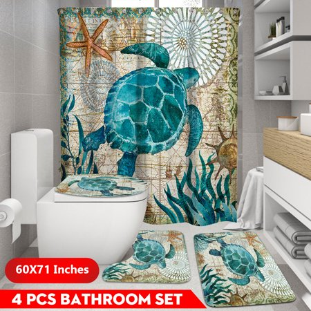 60x71 inch Tortoise Pattern Waterproof Fabric Shower Curtain OR 3 PCS Non-Slip Pedestal Rugs Toilet Seat Lid Cover Bathroom - Tortoise Pedestal