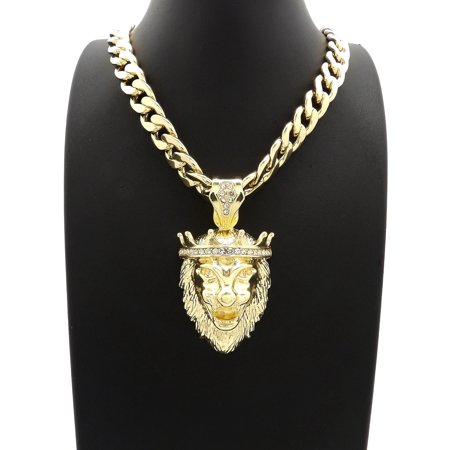 Hip Hop Fashion Iced Out Lion King Pendant w/ 18