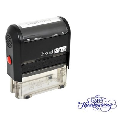 Thanksgiving Rubber Stamp - Happy Thanksgiving - Blue Ink