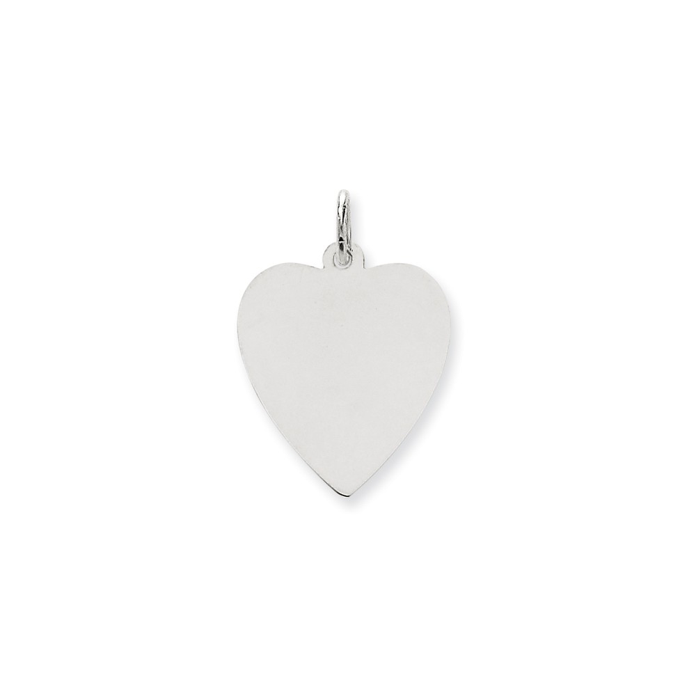 14k White Gold Plain 0.027 Gauge Engravable Heart Charm (1.1in long x 0.7in wide)