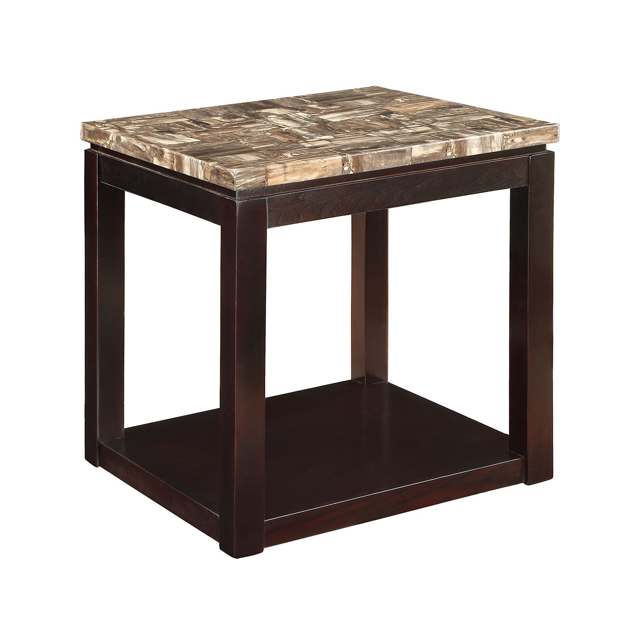 ACME Dusty End Table, Faux Marble & Espresso
