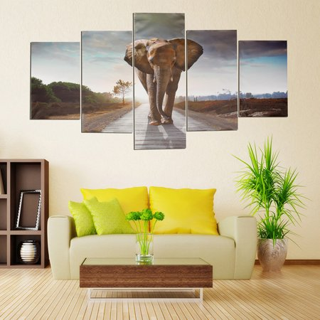 Elephant Home Decor (5Pcs/Set Large Abstract Elephant Canvas Print Art Picture Home Wall Hanging Decor Unframed )