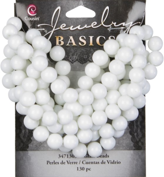 Cousin Jewelry Basics 8mm Round Opaque Beads, 130pk, White Opaque Round