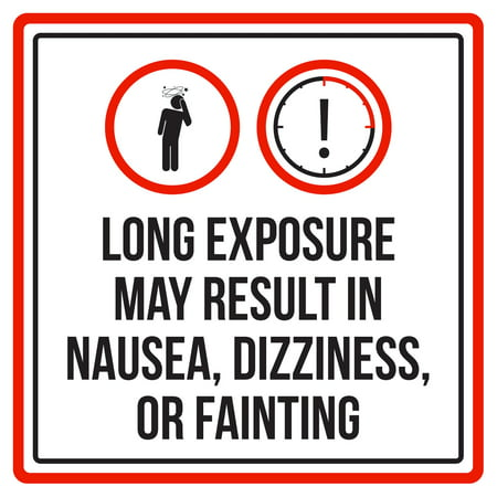 Long Exposure May Result In Nausea Pool Spa Warning Square Sign - Inch, 12x12