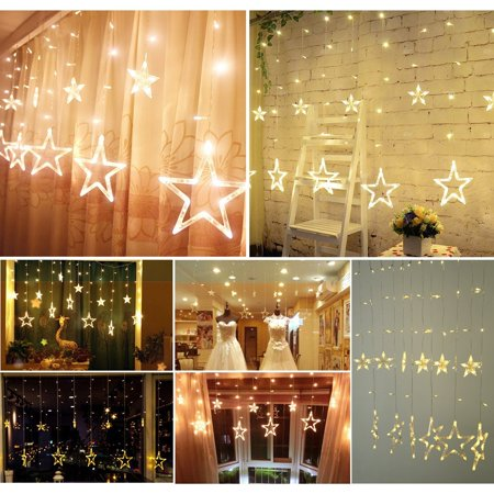 Excelvan Star Curtain Lights,8 Modes,29V,with 12 Stars 138pcs LED Waterproof Linkable Curtain String Lights,Warm White String Light for Christmas/Halloween/Wedding/Party Backdrop,UL Listed - Halloween Drape Lights