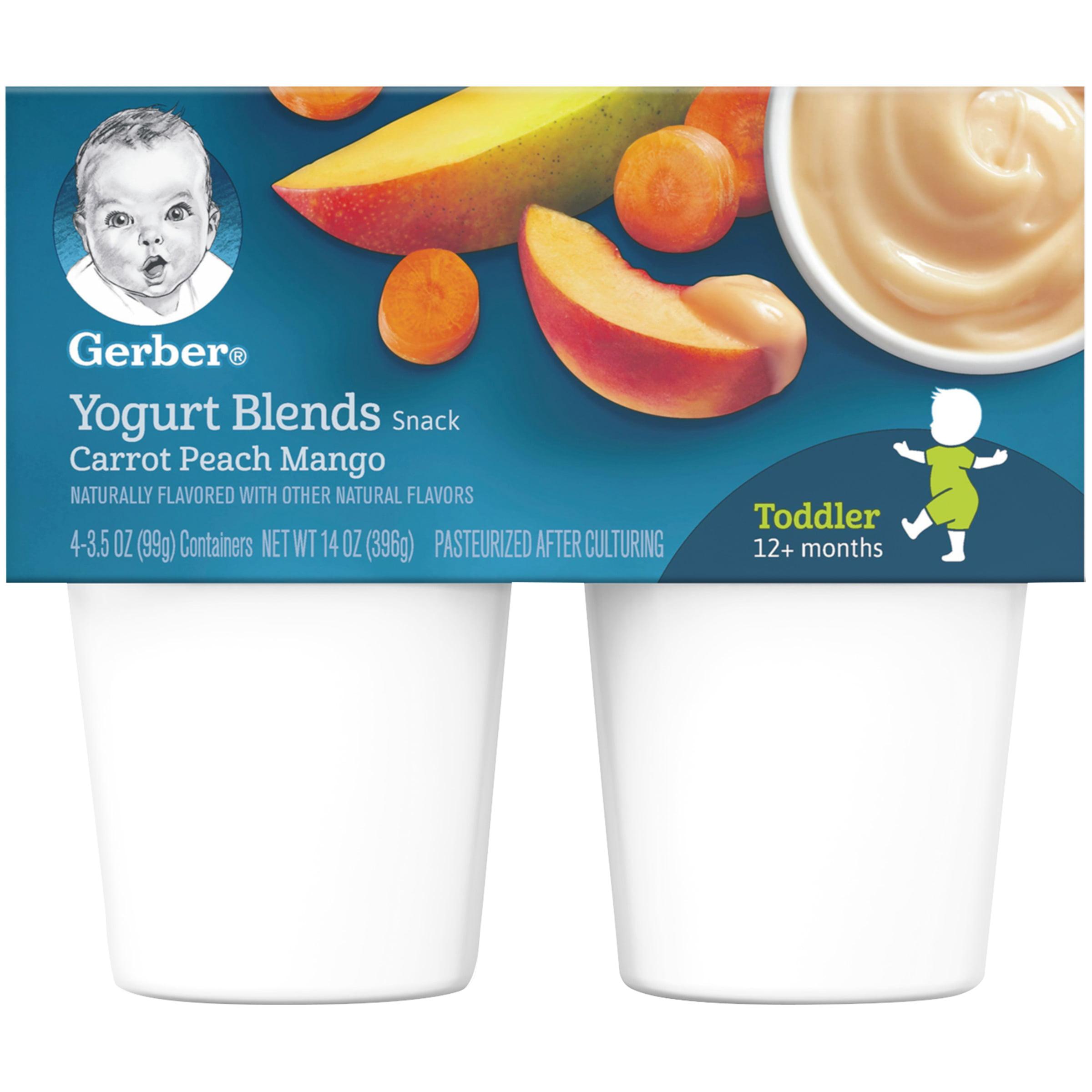Gerber Yogurt Blends Snack, Carrot Peach Mango, 3.5 oz Cups, 4 Count