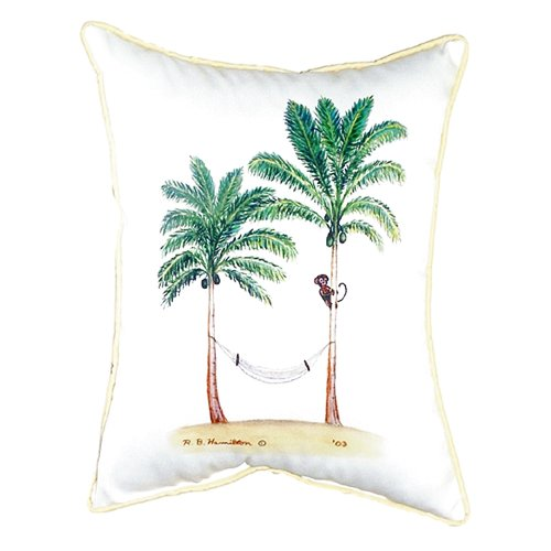 Betsy Drake Interiors Palm Trees and Monkey Indoor/Outdoor Lumbar Pillow