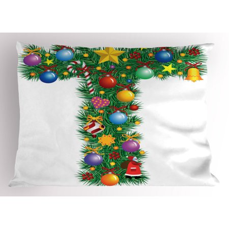 Letter T Pillow Sham Winter Season Celebration with Traditional Festivity Items Holiday Themed Image, Decorative Standard Size Printed Pillowcase, 26 X 20 Inches, Multicolor, by - Holiday Items