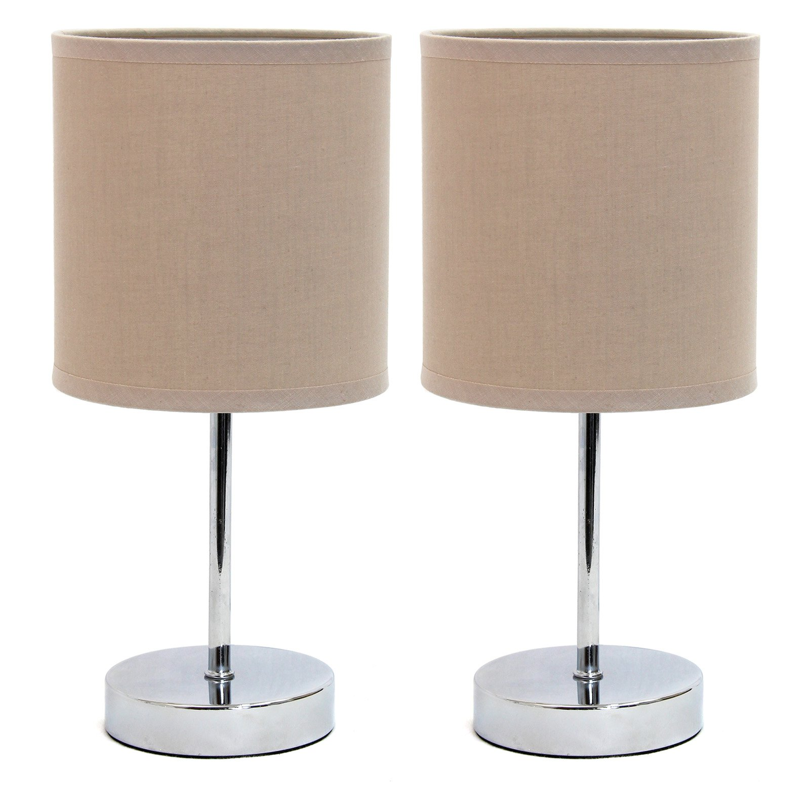 Simple Designs Chrome Mini Basic Table Lamp with Fabric Shade 2 Pack Set by All the Rages Inc