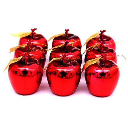 Fancyleo 12pcs Apples Christmas Tree Hanging Ornament Home Party Fruit Pendant Red Golden Apple ()