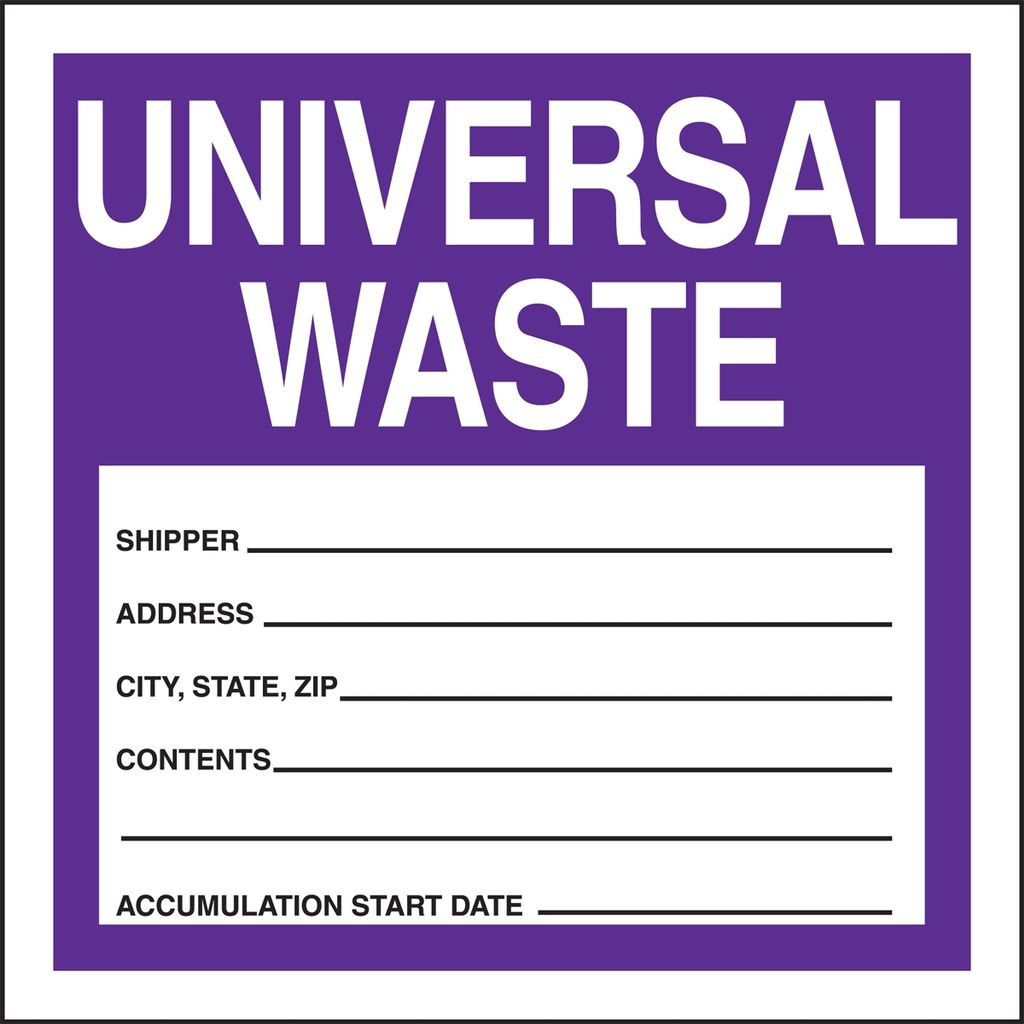 """Accuform MHZW17PSP Shipping Labels UNIVERSAL WASTE SHIPPER ____ ADDRESS ____ CITY STATE 4""""x4"""" Adhsv Coated Paper 25PK"""