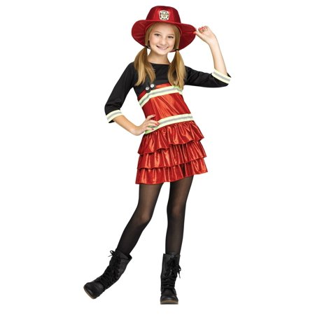Fun World Tween Girls Chief Cutie Costume Fire Fighter Costume - Firefighter Girls