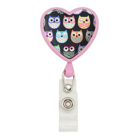 Colorful Owls Cute Pattern Heart Lanyard Retractable Reel Badge ID Card Holder - Pink