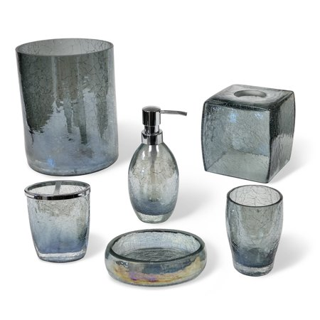 Veratex cracked blue glass bathroom accessories collection for Blue and gold bathroom accessories