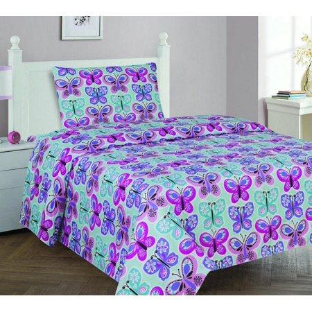 Butterfly Rubber Sheet (Fancy Linen 3pc Girls Butterfly Purple Light Blue Turquoise Purple Pink Sheet set Twin Sheet New )