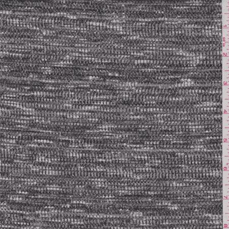 Black grey space dye novelty thermal jersey knit fabric for Space dye knit fabric by the yard