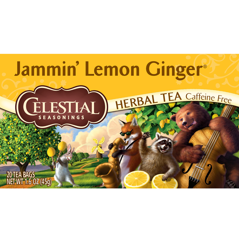 (6 Boxes) Celestial Seasonings Herbal Tea, Jammin' Lemon Ginger, 20 Count