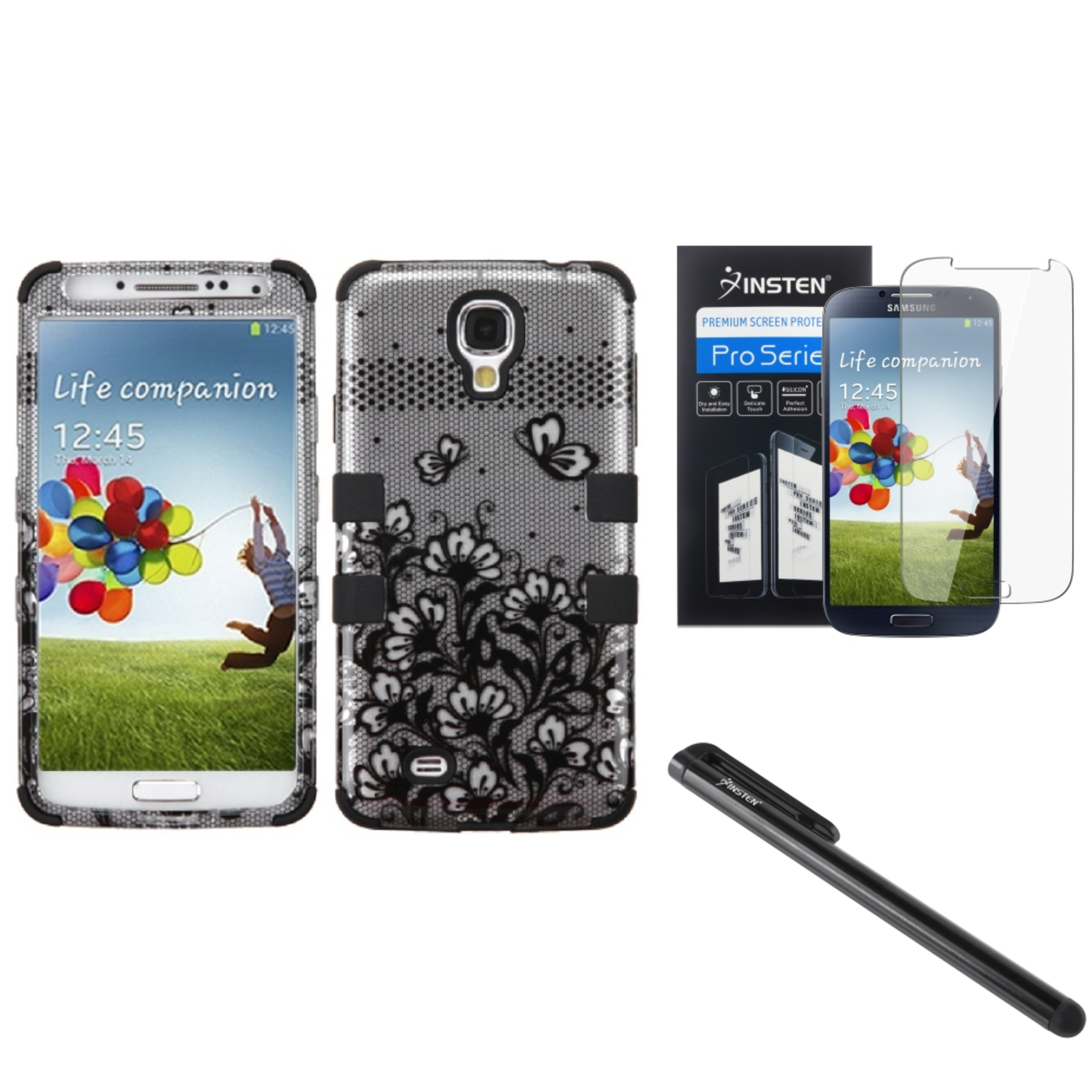 Insten Black Lace Flowers Hybrid Hard TUFF Case For Samsung Galaxy S4 i9500 Stylus SP